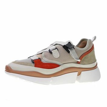 """Chloé Sonnie Low Top Sneaker """"White Brown Red"""" CHC18A05022"""