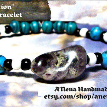 Men's Anklet or Bracelet Protection Genuine Malachite, Turquoise And Amethyst,  black and white seed beads