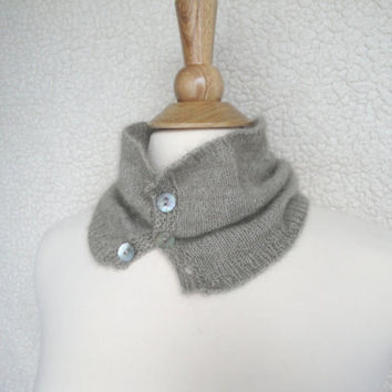 Luxury Neck Warmer, Cowl Scarf, Natural Brown, Cashmere Possum Silk, Super Soft, Hand Knit Scarf