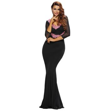 Vestido De Festa Sexy V Neck 3/4 Sleeves Mermaid Floor Length Long Prom Party Dresses Gowns Robe De Soiree Longue