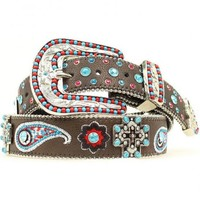 Blazin Roxx Cross Concho Floral & Paisley Embroidered Belt - Sheplers