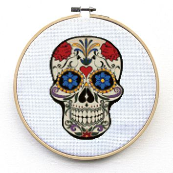 Modern Sugar Skull Cross Stitch Kit