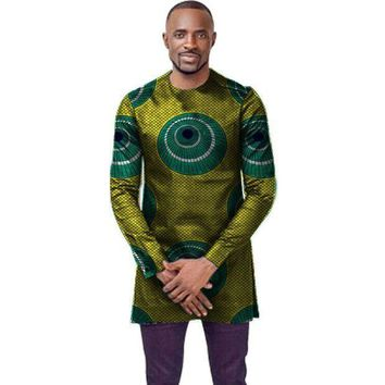 ICIKION O-neck african t-shirt men fashion african print dashiki tops custom long sleeve african clothes tailored africa clothing