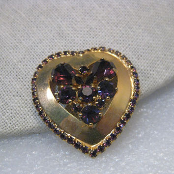 "Vintage Weiss Gold Tone Heart Brooch, Purple Rhinestone Cluster and Border 1-2/3"" tall"