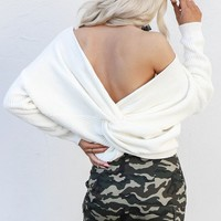 Fall Away Ivory Twisted Detail Sweater