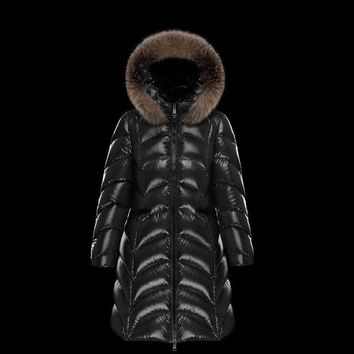 Moncler Women's FULMAR Long Down Jackets Hoodie Black Wine Red Outwear- Online
