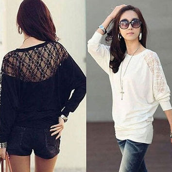 Women Lady Clothes Batwing Long Sleeve T-Shirt Blouse = 1946040324