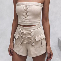 2 piece set sexy suede lace up pocket sleeveless two piece suit chic outwear ladies outfit