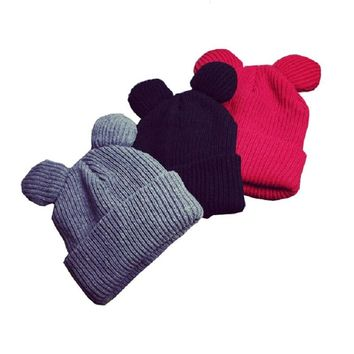 Cat Ear Hat Winter Women Warm Woolen Knit Hats Fashion Girls Cute Cartoon Cap Casual Female Skullies Beanies Knitted Warm Caps