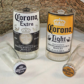 Unique Glassware Upcycled from Corona and Corona Light Beer Bottles, Shot Glass, Drinking Glass, Corona Gift Set