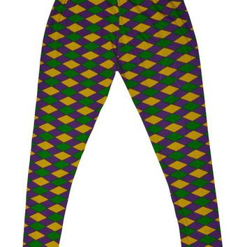 Mardi Gras Purple Green and Gold Harlequin Tights (Kids)