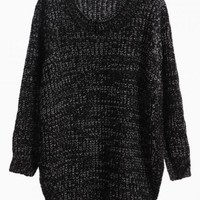 Black Curved Hem Knit Sweater