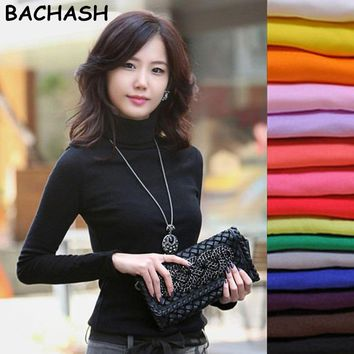 BACHASH High Quality Fashion Spring Winter Sweater Women Wool Turtleneck Pullovers Fashion Women's Solid Sweaters