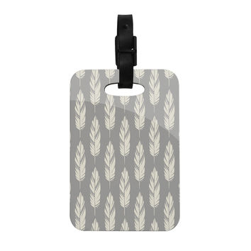"Amanda Lane ""Feathers Gray Cream"" Grey Pattern Decorative Luggage Tag"