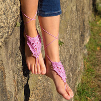 Pink Crochet Barefoot Sandals Wedding foot jewelry shoes Beach etsy by AleenaKCreation