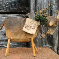 Grungy, Primitive Goat - Crow in Seed Bag - Sprigs of Preserved Oregano and Sweet Annie