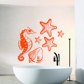 Wall Decals Seahorse Starfish Seashell Bathroom Home Vinyl Decal Sticker Kids Nursery Baby Room Decor kk223