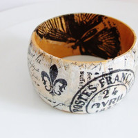 Wooden Vintage Style Decoupage Bangle
