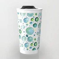 Bubbles Watercolor Travel Mug by Doucette Designs