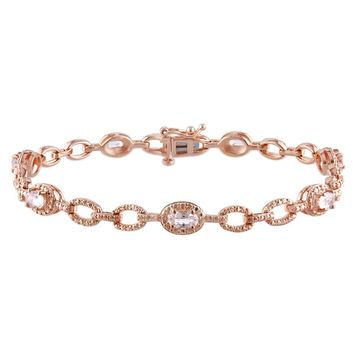 Miadora Rose Gold over Silver Morganite Station Link Bracelet | Overstock.com Shopping - The Best Deals on Gemstone Bracelets