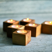 3 Tea light, Candle Holder, Wood tea light, Lantern, Wood light, Wedding decor, Candles, Centerpiece, Wooden block, Home decor, Wood planter