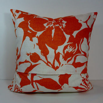 Orange Pillow Cover, Decorative Cushion Cover, P Kaufmann Fabrics, Orange and White
