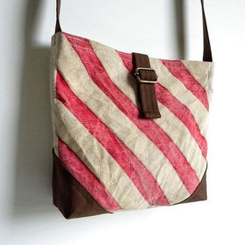 Recycled Striped Cross Body Day Bag by belrossa on Etsy