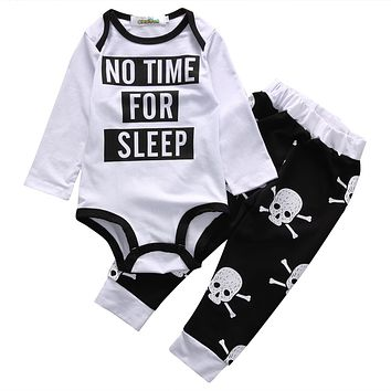2016 Autumn style infant clothes baby clothing sets Baby Boy Girl Skull Clothes Romper+ Pants Trousers Outfits Set 2pcs Suit