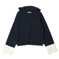 Knitted Folded Cuff Hoodie