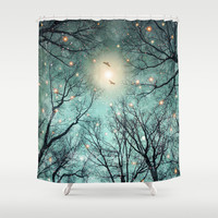 Nature Blazes Before Your Eyes (Mint Embers) Shower Curtain by Soaring Anchor Designs