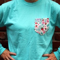 Zeta Tau Alpha Long Sleeve Tee Shirt in Lagoon Blue with Pattern Pocket by the Frat Collection