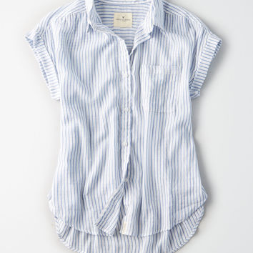 AE Plaid Short Sleeve Boyfriend Shirt, Light Blue