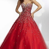 Long Strapless Sweetheart Ball Gown