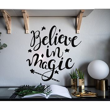 Vinyl Wall Decal Inspiring Quote Believe In Magic Home Decor Stickers Mural 22.5 in x 22 in gz134