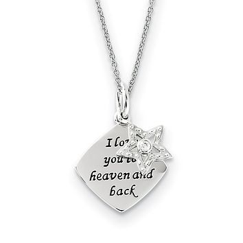 Rhodium Sterling Silver & CZ I Love You To Heaven & Back Star Necklace