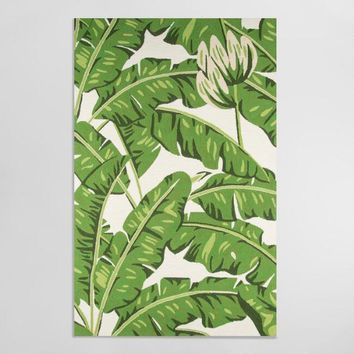 Green Botanical Leaf Indoor Outdoor Rug