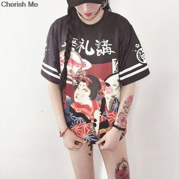 DCCKHY9 Genki Girl Japanese Street Style Exaggerated Printing Loose T-shirt Student Teenager Tops Letter Harajuku Cloth