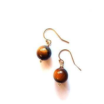 SALE, Simple Stone Drop Earrings, Tigers Eye and 14k Gold Filled Wire