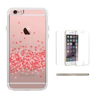 365Printing 360° Full Protection Falling Pink Hearts Clear Phonecase iPhone Case