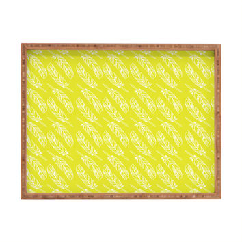 Allyson Johnson Neon Feathers Rectangular Tray
