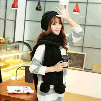 New Arrival 2015 High Quality Fashion Winter Women Thickening Knited Scarf Hat Set