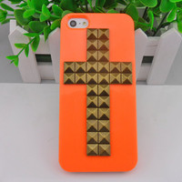 iPhone 5 hard Case Cover with cross bronze pyramid stud For iPhone 5 Case, iPhone hand case cover  -250