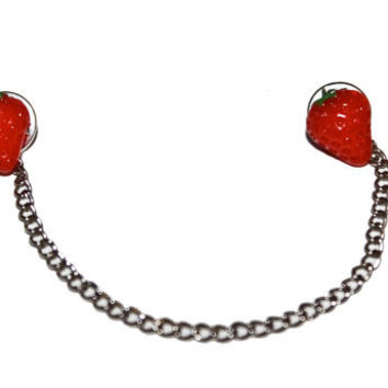 Strawberry Collar Stud / Sweater Clip / Brooches