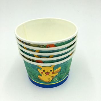 10pcs/lot  Go theme ice cream cups baby shower party supplies  Go bowls ice cream cups  Go disposable cupsKawaii Pokemon go  AT_89_9