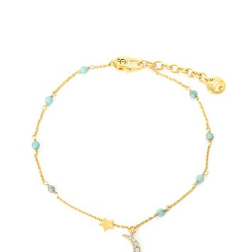PAVE DECO STAR BEADED ANKLE BRACELET