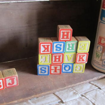 1974 Playskool Letter Wood Blocks in Original Box with Lid; old toys; boys' toys; girl's vintage toys; wooden blocks; children's wood blocks