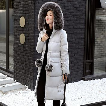 NewBang 5XL 6XL Winter Down Coat Windbreaker Parkas Real Fox Fur Collar Women Long Down Jacket Outwear Thick Warm Puffer Jackets