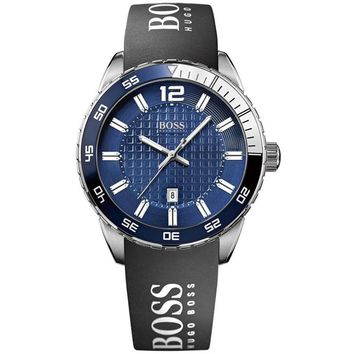 Hugo Boss 1512887 Men's Blue Dial Black Rubber Strap Watch