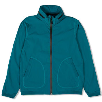 Nylon Stow Away Hood Zip Jacket (Turqouise)
