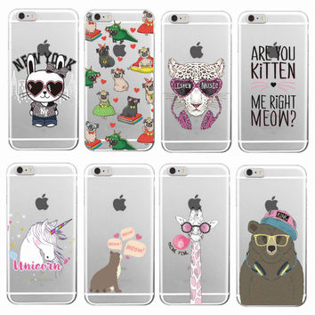 Cute Bunny Unicorn Bear Cat Bulldog Leopard Panther giraffe Soft Phone Case  For iPhone 7 7Plus 6 6S 6Plus 5 5S SE 5C 4